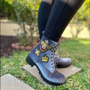 Grey Velvet Patch Lace Up Combat Boots